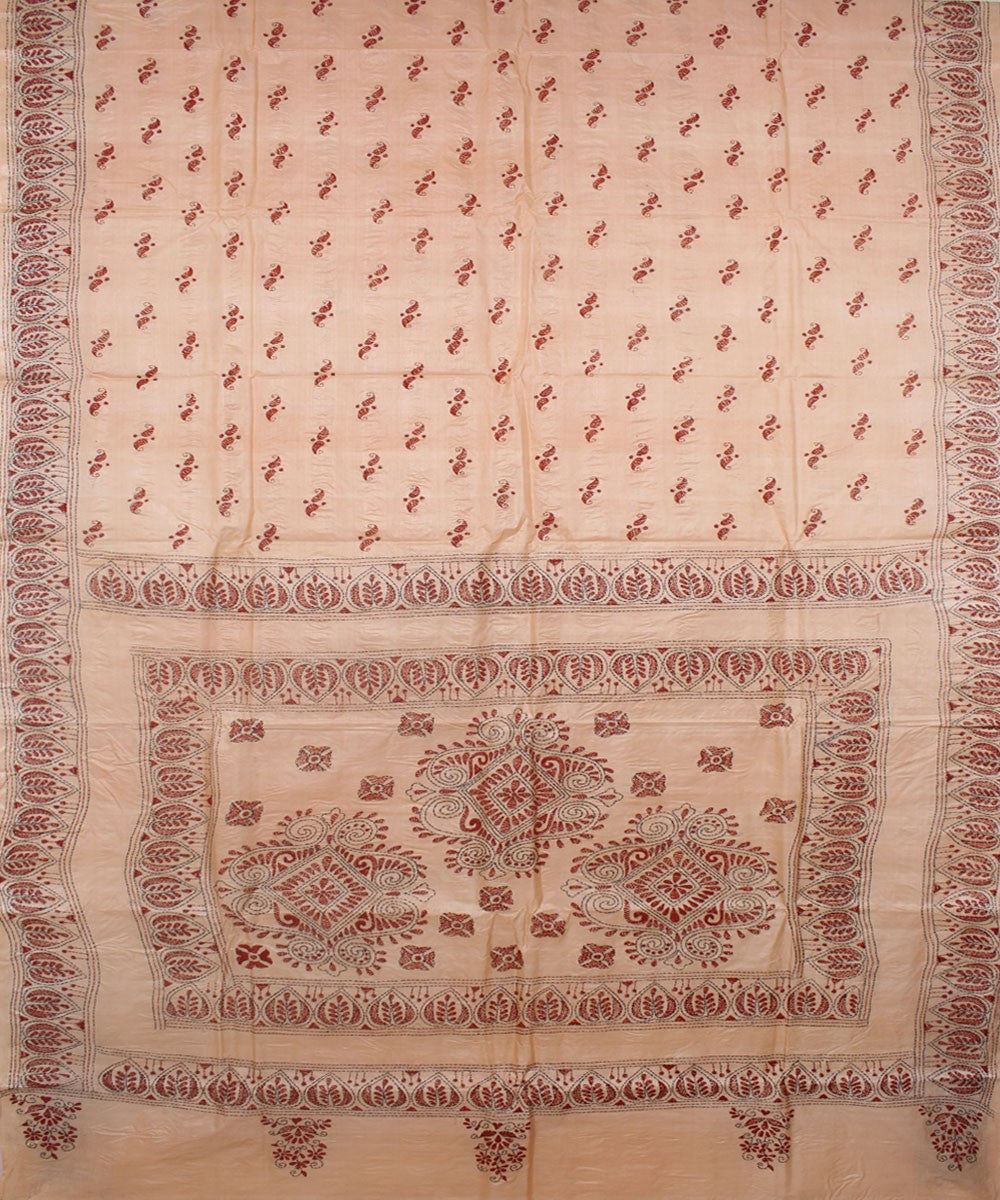 Kantha Stitch Peach Silk Handloom Saree