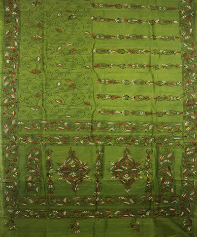 Kantha Stitch Handloom Green Tussar Saree