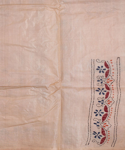Kantha Stitch Silk Handloom Peach Saree