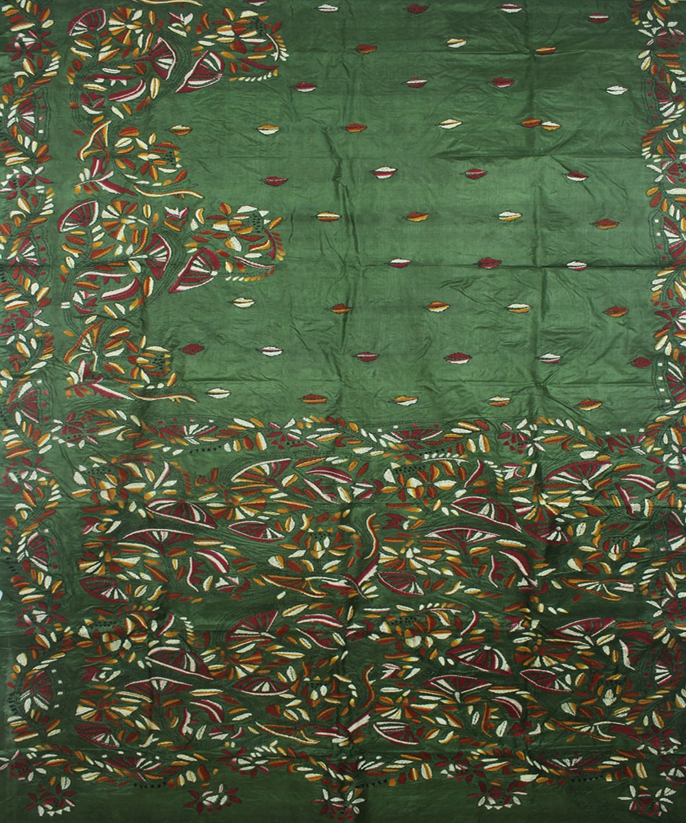 Dark Green Kantha Stitch Handloom Silk Saree