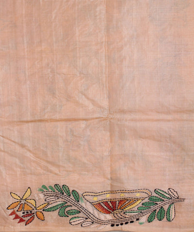 Kantha Stitch Tussar Handwoven Peach Saree