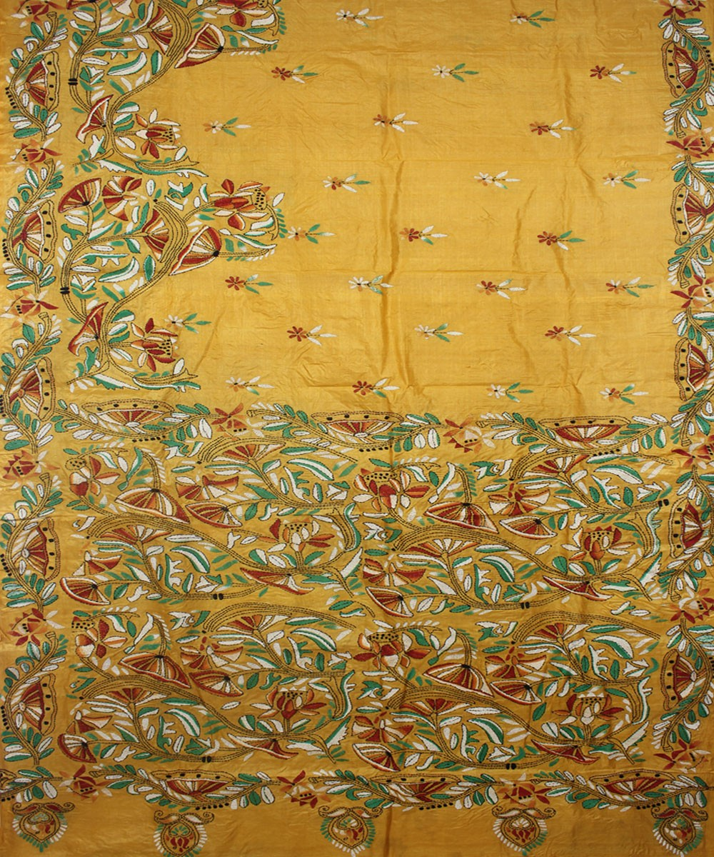Kantha Stitch Yellow Tussar Handloom Saree