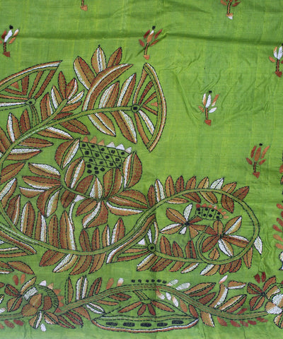 Kantha Stitch Green Handloom Silk Saree