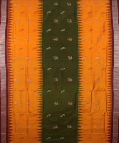 Yellow Maroon Handwoven Bomkai Silk Saree