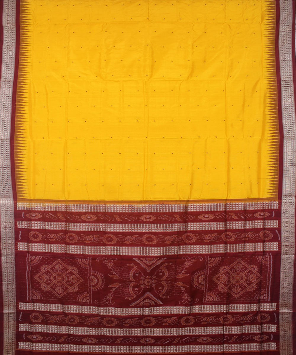 Handwoven Yellow Maroon Bomkai Silk Saree