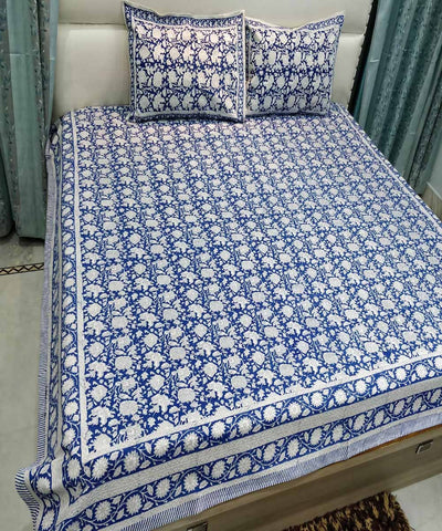 Navy Blue Handblock Printed Cotton Bedsheet