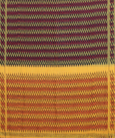 Red Yellow Handwoven Ikat Cotton Saree