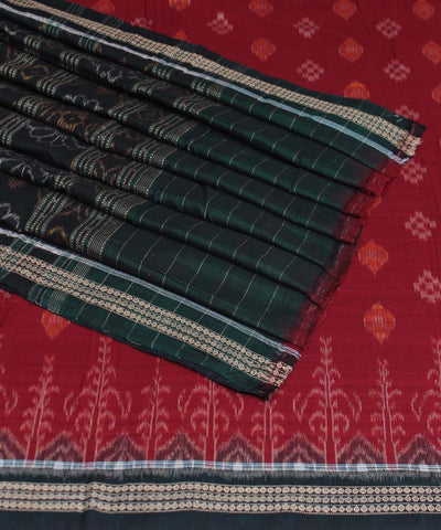 Maroon Green Handloom Sambalpuri Cotton Saree