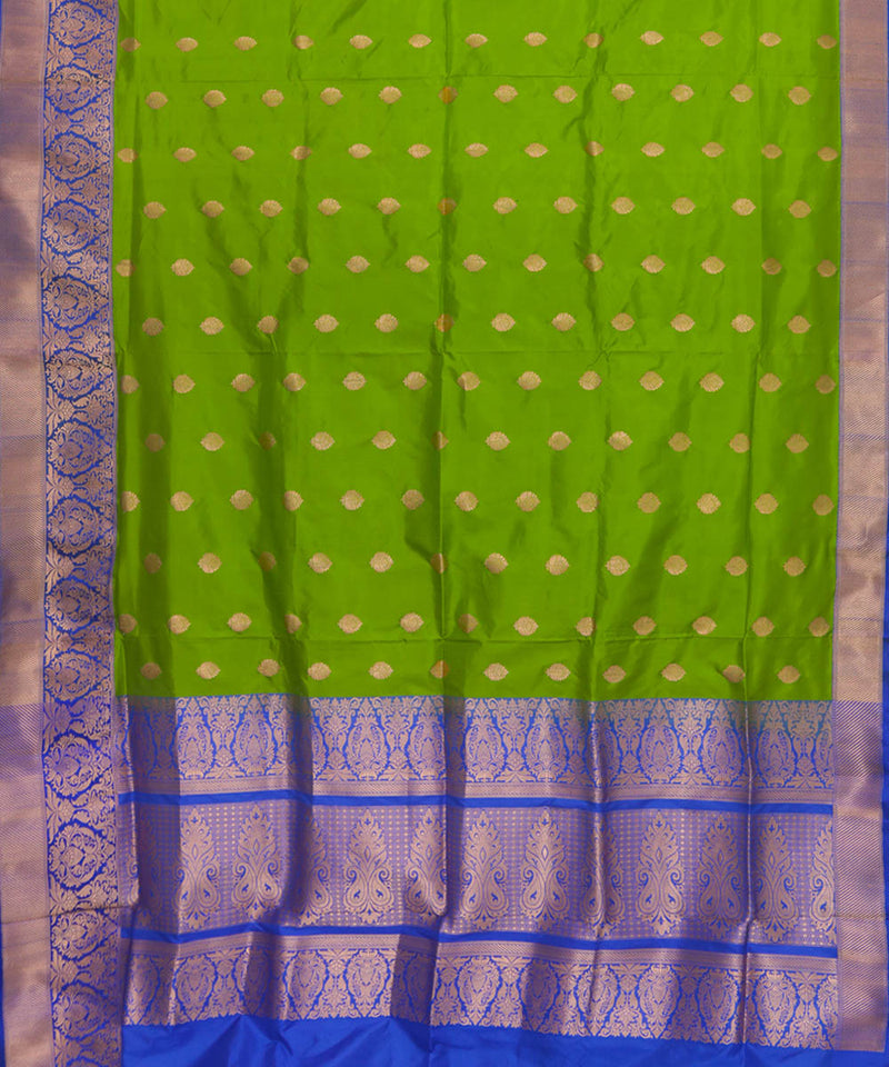 Parrot green handloom silk banarasi saree