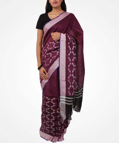 Handwoven Plum Linen Saree