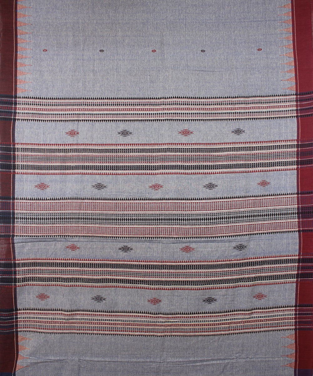 Kotpad Handloom Cotton Saree Blue Maroon