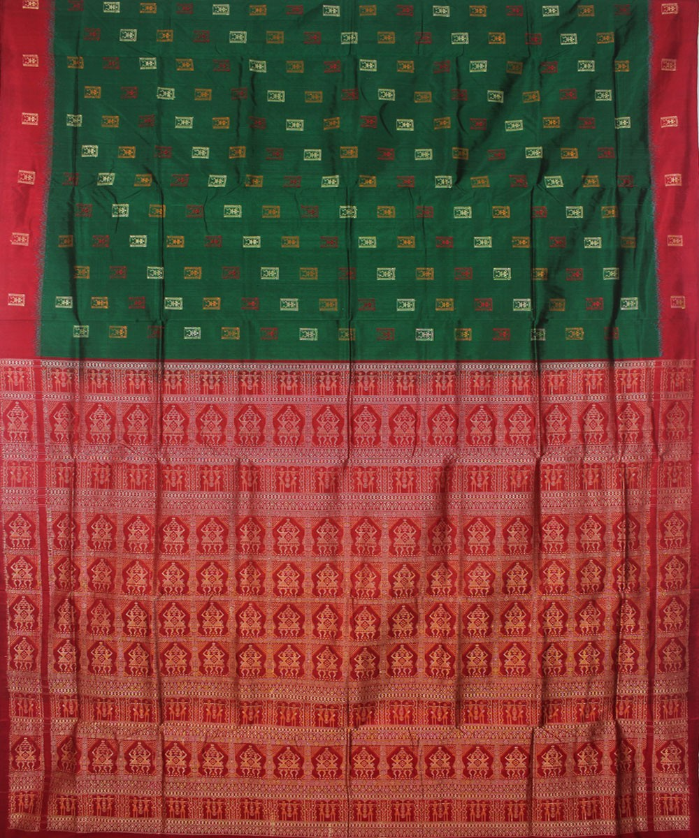 Bomkai Silk Green Maroon Handloom Saree