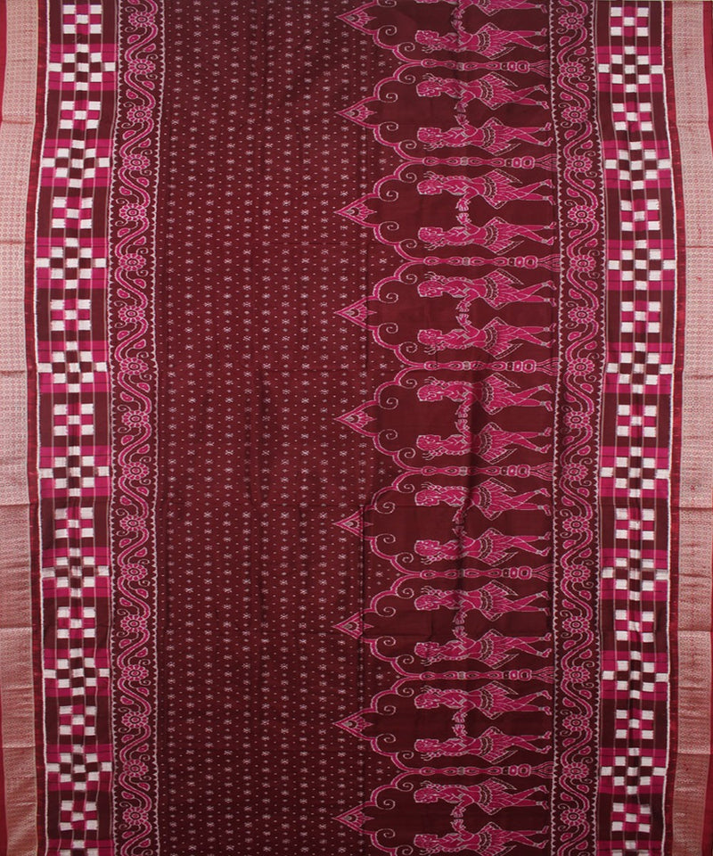 Coffee Maroon Handwoven Sambalpuri Silk Saree