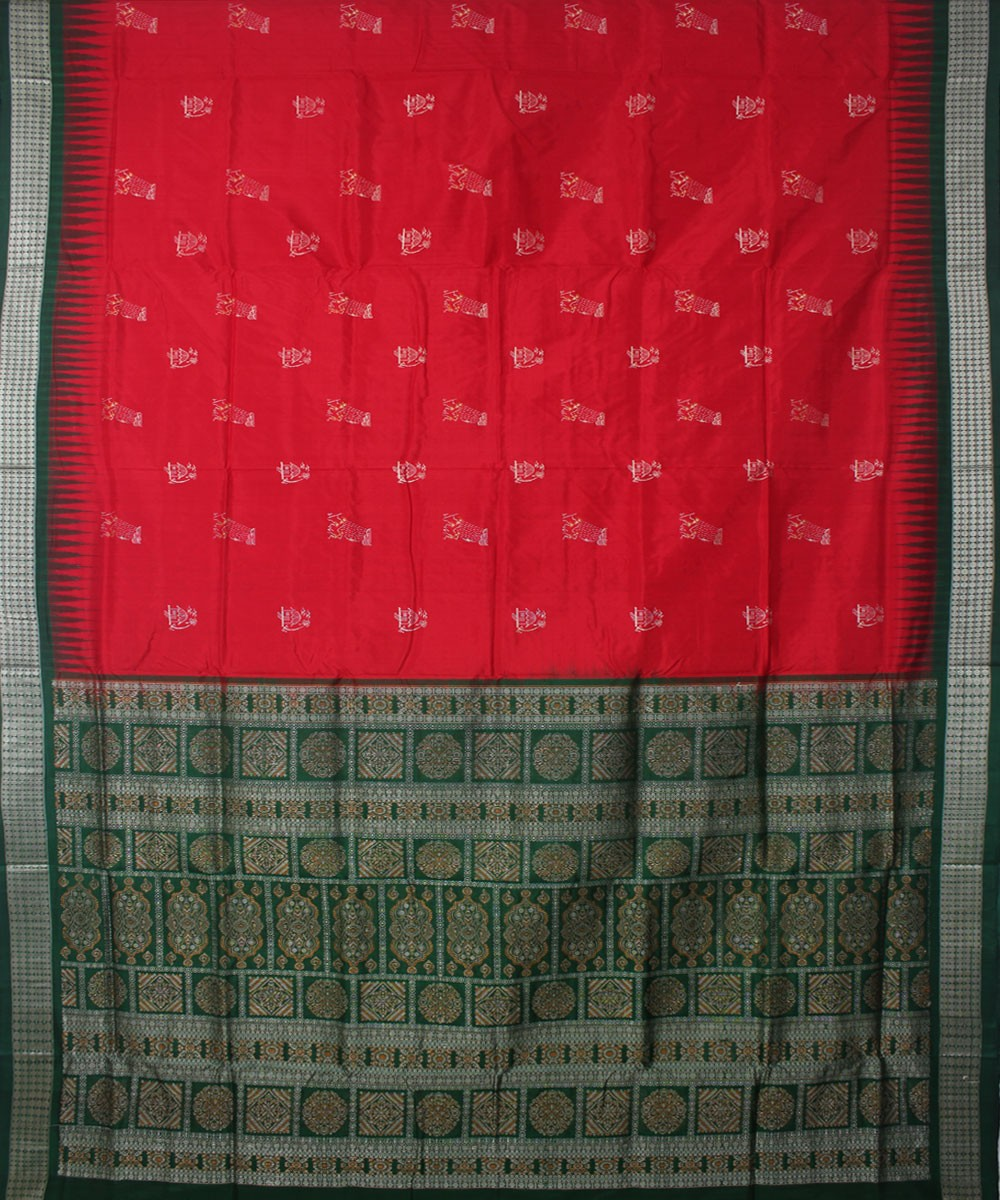 Bomkai Silk Handloom Red Green Saree