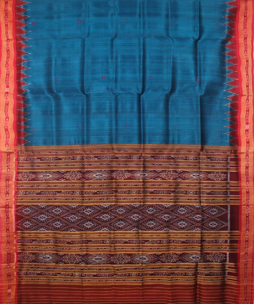 Blue Maroon Handwoven Khandua Silk Saree