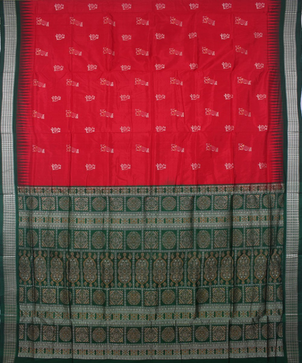 Red Green Handwoven Bomkai Silk Saree