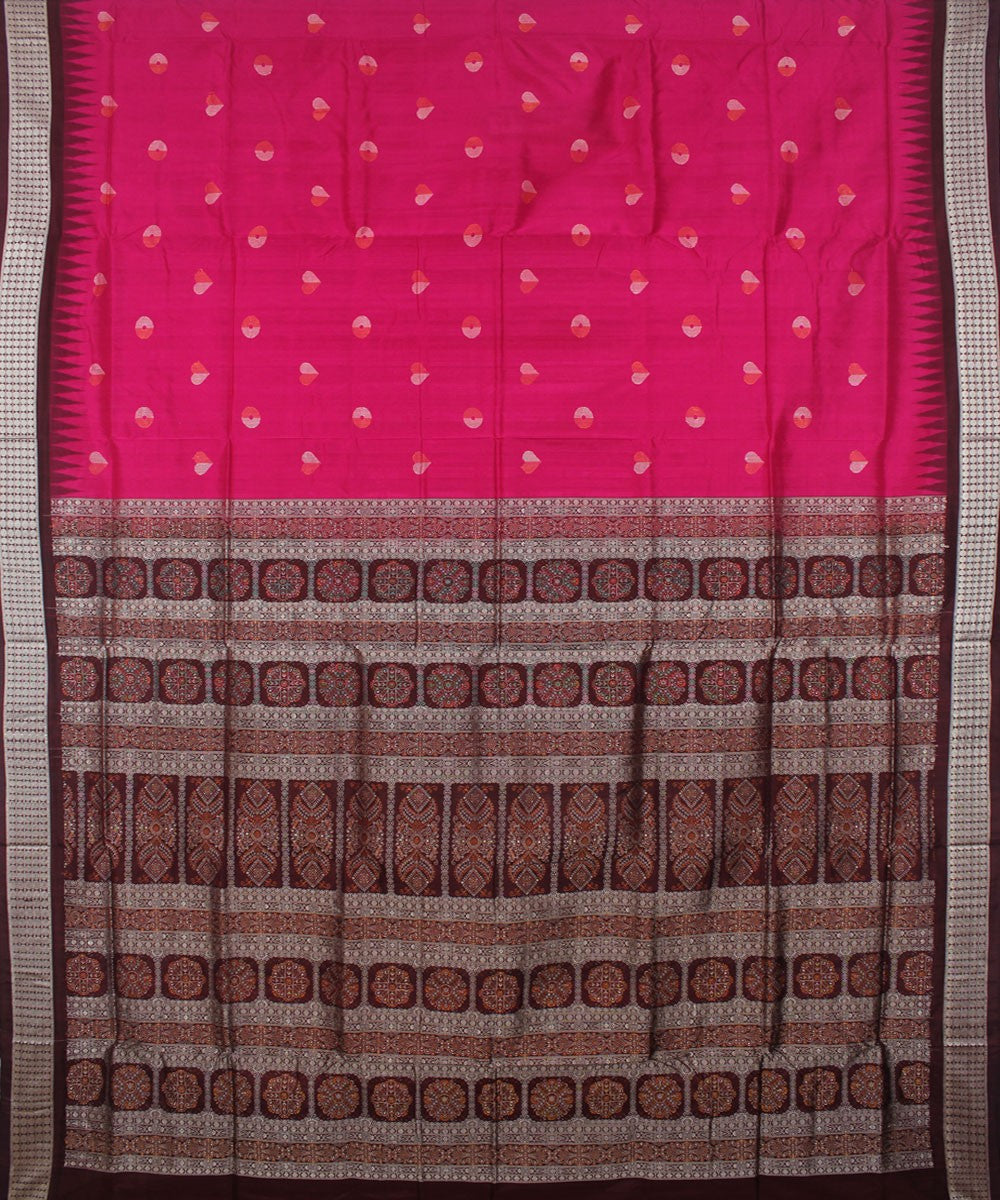 Pink Coffee Bomkai Handloom Silk Saree