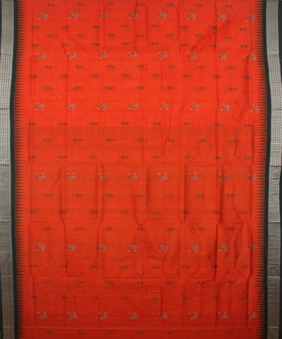 Handloom Coquelicot Green Bomkai Silk Saree