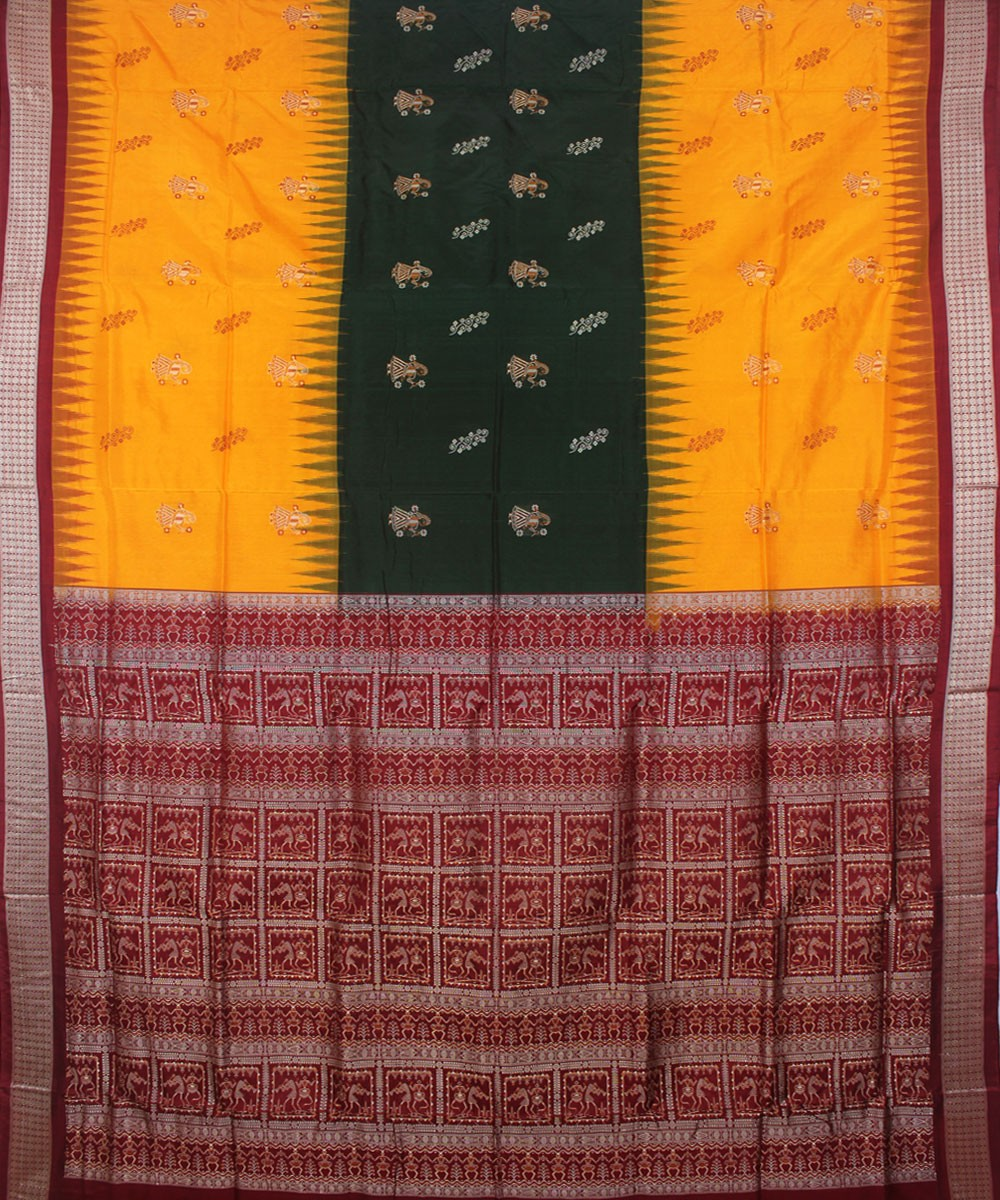 Bomkai Silk Handwoven Yellow Maroon Saree