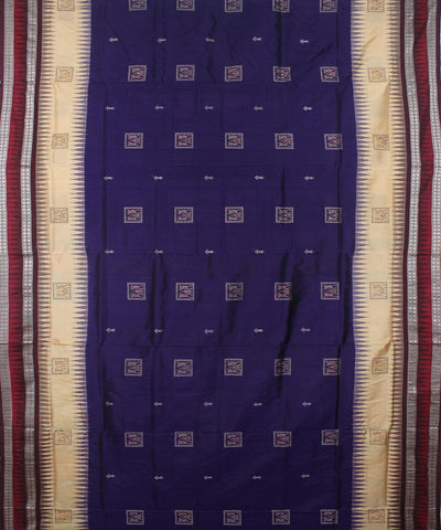 Handloom Bomkai Silk Saree Blue Coffee