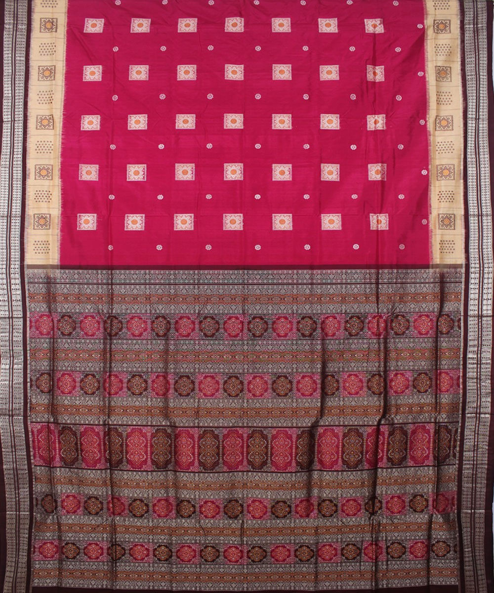 Handloom Pink Coffee Bomkai Silk Saree