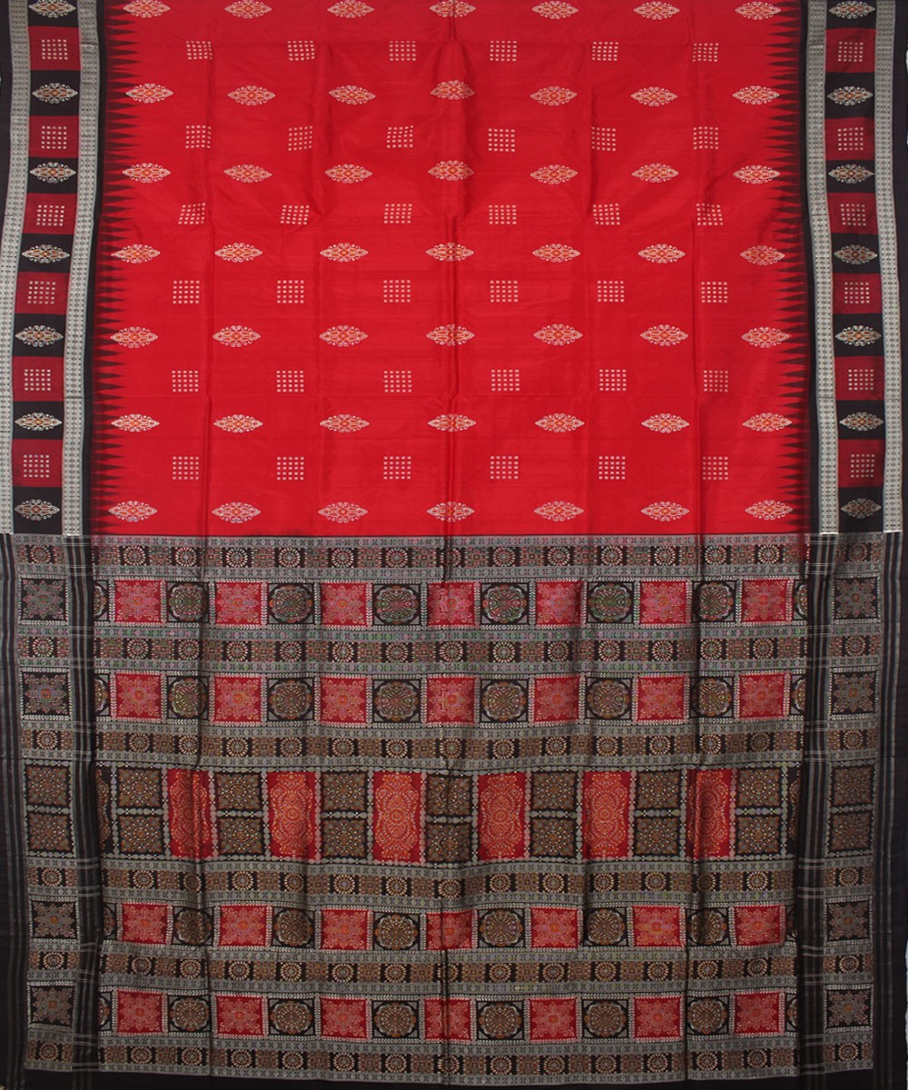 Red and Black Handloom Bomkai Silk Saree