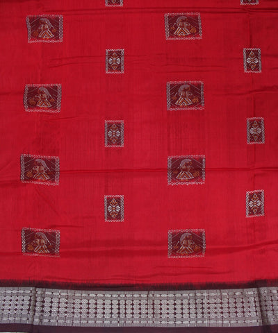 Handloom Patli Bomkai Silk Saree Red Coffee