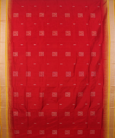 Handloom Bomkai Silk Saree Red Yellow