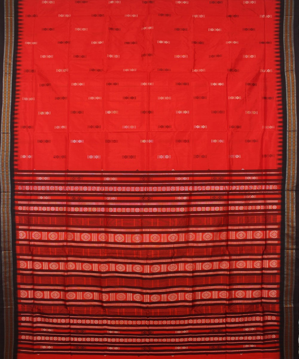 Red Black Habaspuri Handloom Silk Saree