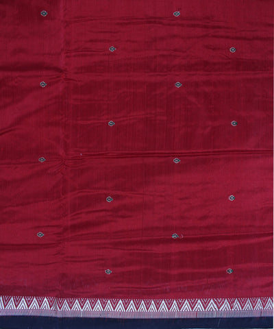 Maroon Black Dongaria Handloom Silk Saree