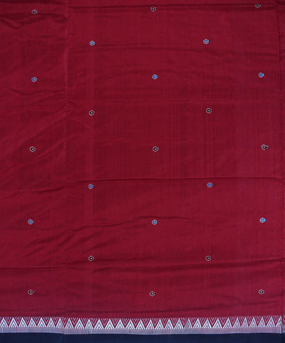 Maroon Black Dongaria Silk Handloom Saree