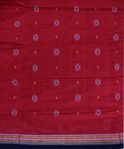 Firbi Handloom Bomkai Silk Saree Red Black