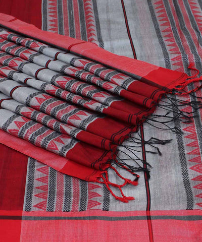Bengal Maroon Grey Stripes Handwoven Saree