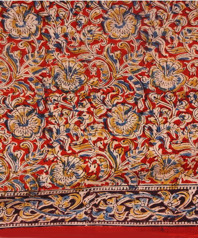 Floral Block Printed Kalamkari Cotton Saree