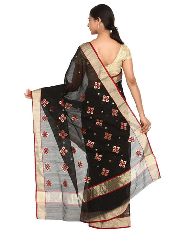 Black Red Handwoven Chanderi Sico Saree