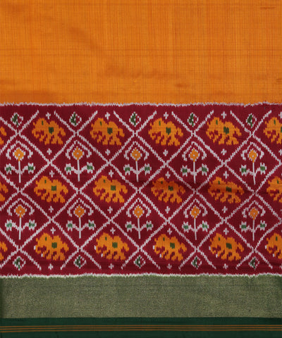 Yellow Orange Handloom Ikat Rajkot Silk Saree
