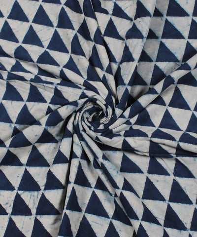 White Indigo Dabu Block Printed Cotton Fabric