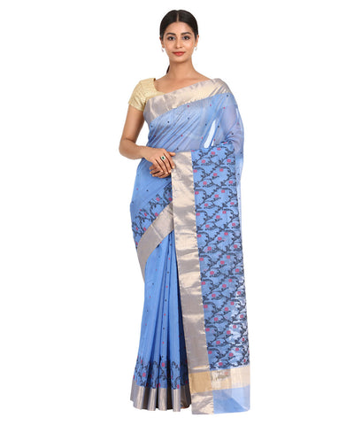 Lavender Blue Handwoven Chanderi Sico Saree