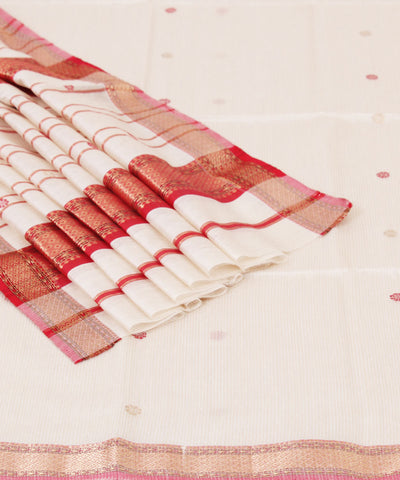 Handwoven Off White Maheshwari Sico Saree