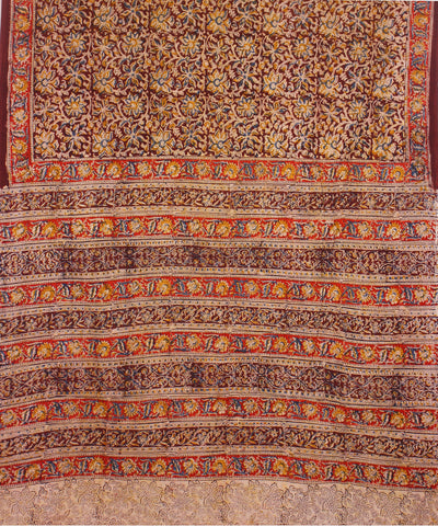Hand Block Printed Brown Kalamkari Cotton Saree