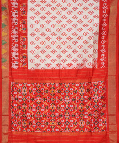 Pochampally Handwoven Off White Silk Saree