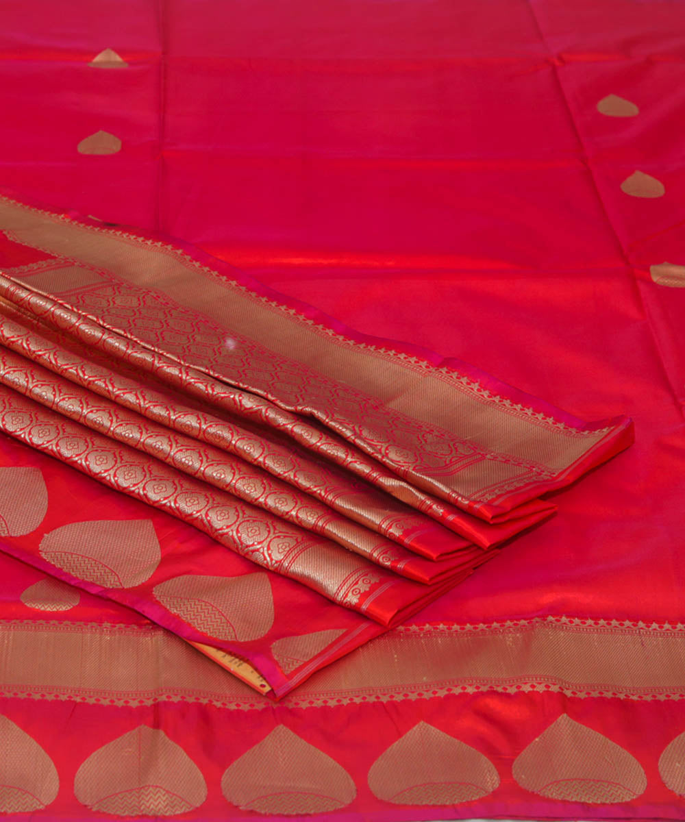 Banarasi Rose Red Handloom Silk Saree