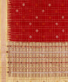 Red Checks Handwoven Bomkai Silk Saree