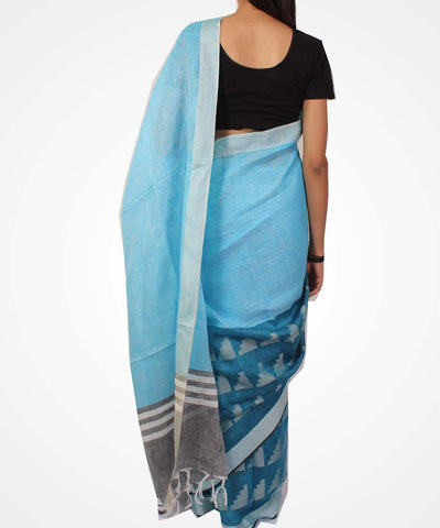 Handwoven Sky Blue Linen Saree