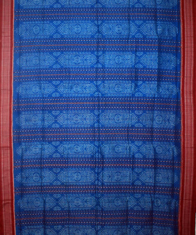 Blue Maroon Sambalpuri Cotton Handloom Saree