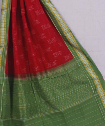 Red Green Handwoven Sambalpuri Dupatta