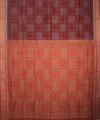 Maroon Brown Sambalpuri Cotton Handloom Saree