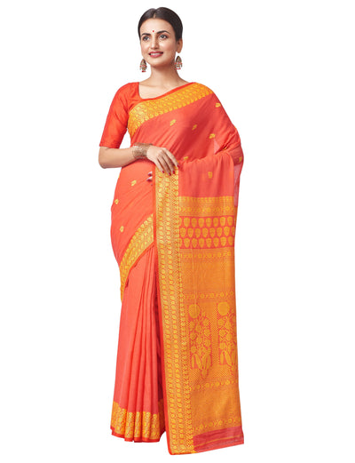 Biswa Bangla Handloom Hand Spun Cotton Saree - Red