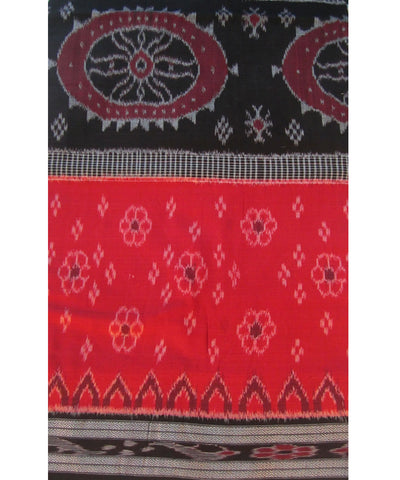 Black and Red Nuapatna Cotton Saree