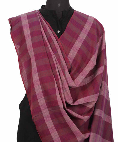 Handwoven Jam Pink Cotton Dupatta